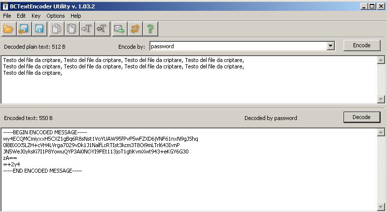 BCTextEncoder criptare testi