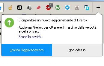 stop PopUp aggiornamento Firefox